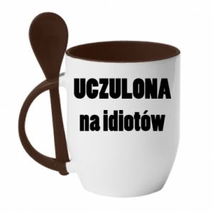Mug with ceramic spoon Sensitive to idiots - PrintSalon