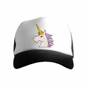Kid's Trucker Hat Unicorn pleased with itself