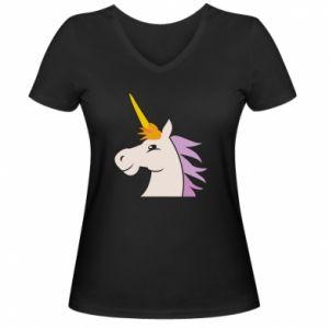 Damska koszulka V-neck Unicorn pleased with itself