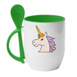 Kubek z ceramiczną łyżeczką Unicorn pleased with itself