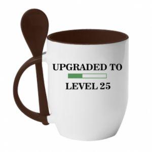 Kubek z ceramiczną łyżeczką Upgraded to level 25
