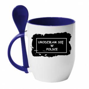 Kubek z ceramiczną łyżeczką Urodziłam się w Polsce