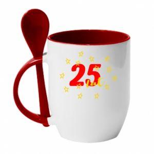 Kubek z ceramiczną łyżeczką Urodziny. 25 lat