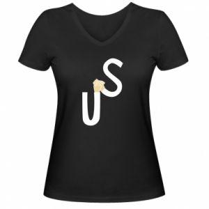 Damska koszulka V-neck US