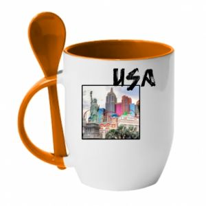 Mug with ceramic spoon USA