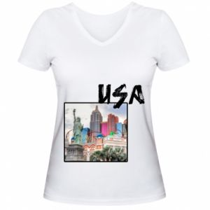 Women's V-neck t-shirt USA