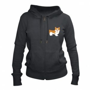 Women's zip up hoodies Corgi smile