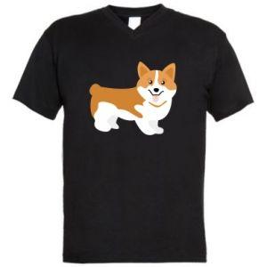 Męska koszulka V-neck Uśmiech Corgi