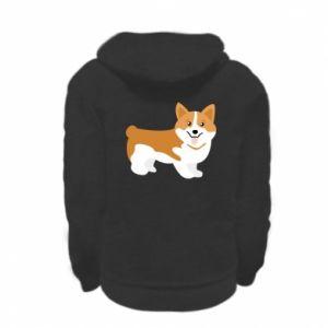 Kid's zipped hoodie % print% Corgi smile
