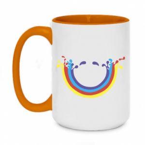 Two-toned mug 450ml Smiling rainbow