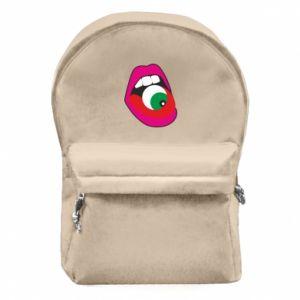 Plecak z przednią kieszenią Usta dziewczyny z okiem