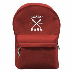 Plecak z przednią kieszenią Uwaga mama