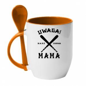 Kubek z ceramiczną łyżeczką Uwaga mama