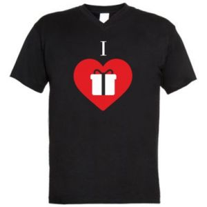 Męska koszulka V-neck I love presents