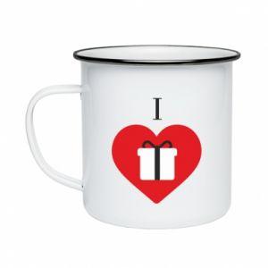 Enameled mug I love presents