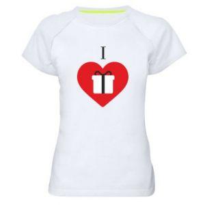 Women's sports t-shirt I love presents