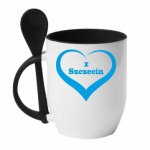 Kubek z ceramiczną łyżeczką I love Szczecin - PrintSalon
