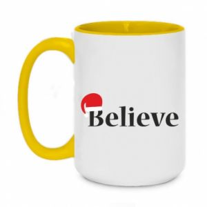 Two-toned mug 450ml Believe in a hat