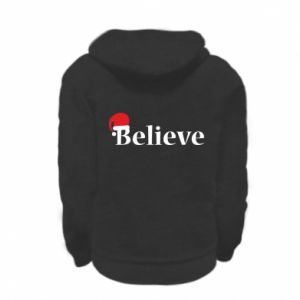 Kid's zipped hoodie % print% Believe in a hat