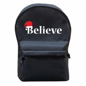 Backpack with front pocket Believe in a hat