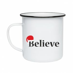 Enameled mug Believe in a hat