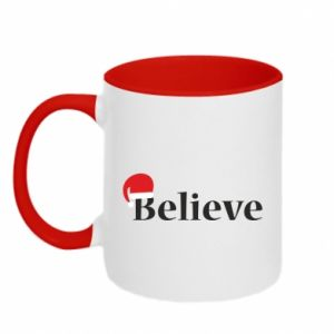 Two-toned mug Believe in a hat