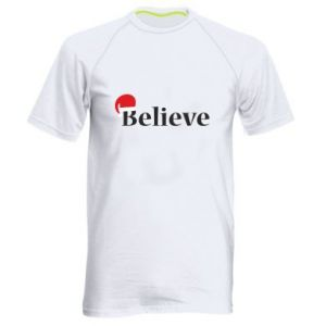 Men's sports t-shirt Believe in a hat
