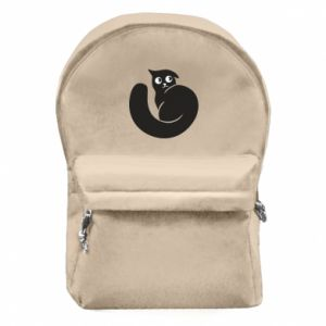 Backpack with front pocket Very black cat is watching you - PrintSalon