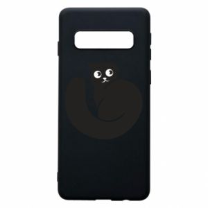 Phone case for Samsung S10 Very black cat is watching you - PrintSalon