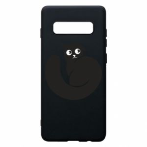 Phone case for Samsung S10+ Very black cat is watching you - PrintSalon