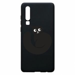Phone case for Huawei P30 Very black cat is watching you - PrintSalon