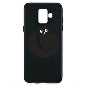 Phone case for Samsung A6 2018 Very black cat is watching you - PrintSalon