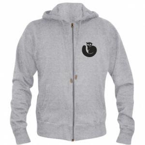 Men's zip up hoodie Very black cat is watching you - PrintSalon