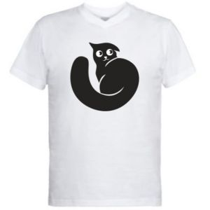 Men's V-neck t-shirt Very black cat is watching you