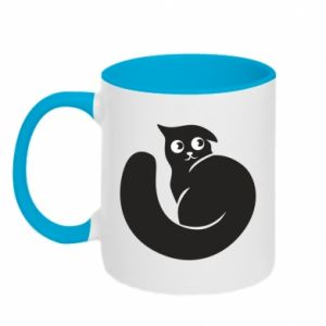 Two-toned mug Very black cat is watching you - PrintSalon