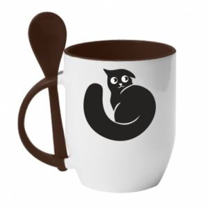 Mug with ceramic spoon Very black cat is watching you - PrintSalon