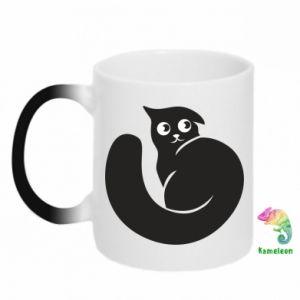 Chameleon mugs Very black cat is watching you - PrintSalon