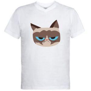 Men's V-neck t-shirt Very dissatisfied cat - PrintSalon