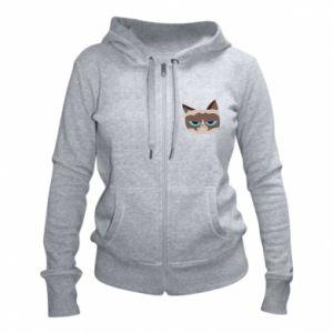 Women's zip up hoodies Very dissatisfied cat - PrintSalon