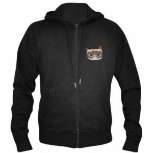 Men's zip up hoodie Very dissatisfied cat - PrintSalon