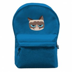 Backpack with front pocket Very dissatisfied cat - PrintSalon