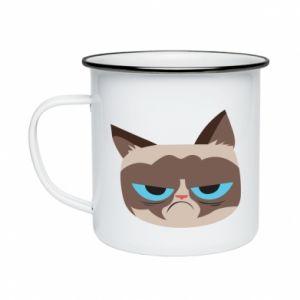 Enameled mug Very dissatisfied cat - PrintSalon