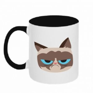 Two-toned mug Very dissatisfied cat - PrintSalon
