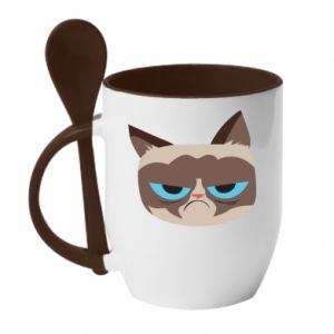 Mug with ceramic spoon Very dissatisfied cat