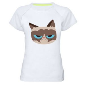 Women's sports t-shirt Very dissatisfied cat - PrintSalon