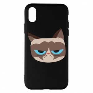 Phone case for iPhone X/Xs Very dissatisfied cat - PrintSalon