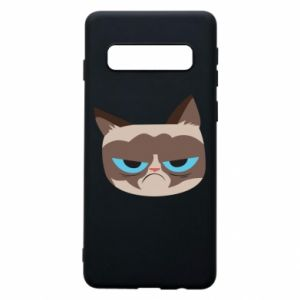 Phone case for Samsung S10 Very dissatisfied cat - PrintSalon