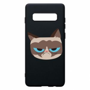Phone case for Samsung S10+ Very dissatisfied cat - PrintSalon
