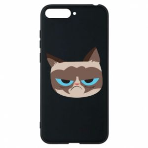 Phone case for Huawei Y6 2018 Very dissatisfied cat - PrintSalon