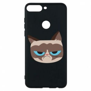 Phone case for Huawei Y7 Prime 2018 Very dissatisfied cat - PrintSalon